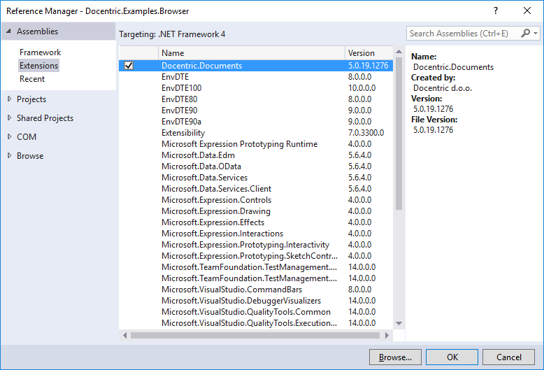 Reference Manager Dialog (Visual Studio 2015)