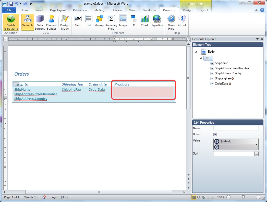 Example: Nested tables